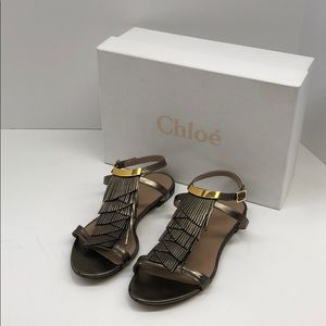 Chloe Casse Fringe Sandals in Antik Gold - Size 37